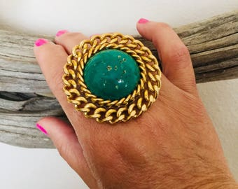 Turquoise and gold boho ring.