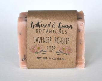 Lavender Rosehip Soap | All natural soap, cold process soap, handmade soap, herbal soap, moisturizing soap, vegan soap