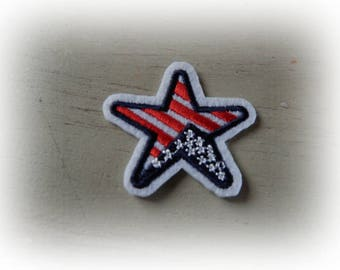 1 patch fusible patch / applique star tricolor USA 4.7 cm