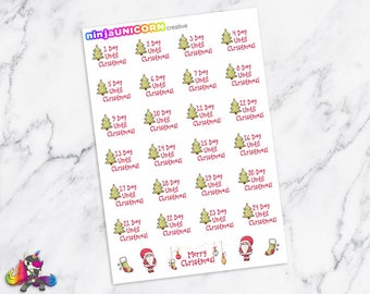 Christmas Countdown Planner Stickers, Christmas Planner Stickers, Countdown Stickers