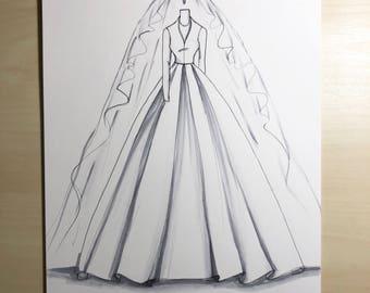 Bridal illustration-Princess Margaret wedding gown Illustration