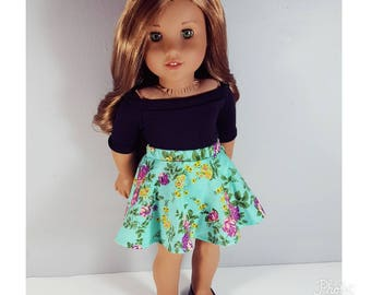 18 inch doll clothes - boat neck top in black