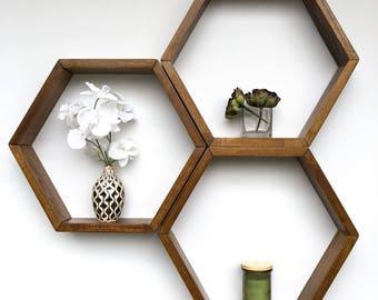 Honeycomb Shelves | Set of 3 | Hexagon Shelves | Geometric Shelves | Floating Shelves