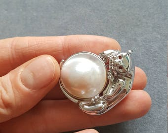 Sterling Silver 925 Brooch/PENDANT Panther Natural Mobe Pearl Garnet Eyes Gift