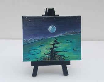 Otherworldly Miniature Oil Painting with Easel