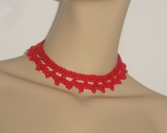-Choker - boho crochet collar - necklace - crocheted necklace - collar - collars