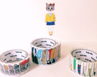 Dress up cat washitape set // college girl