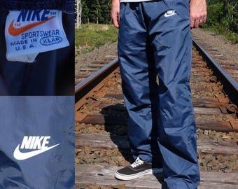 Vintage 70s NIKE Track Pants - 70s Orange Tag Nike Pants - Blue NIKE Athletic Pants - Size XL