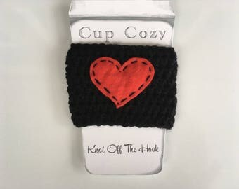 Crochet cup cozy with heart