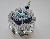 Saltcellar Pincushion - Tula Pink Fabric - Crystal Glass