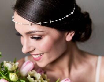 Pearl bridal tiara, Minimalist tiara for bride, Bohemian bridal headpiece, Wedding tiara, Bridal hair accessory, Modest wedding accessory