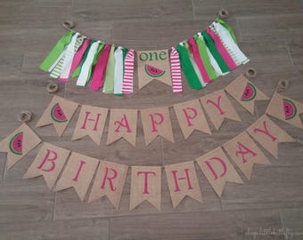Watermelon Birthday, Watermelon High Chair Highchair Banner, One In A Melon, First 1st Birthday, Watermelon Party, Summer Birthday, One
