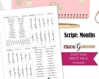 PRINTABLE WORDS: Months/Printable/Digital/Stickers