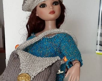 Doll beret and bag accessories.