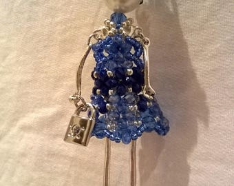 Dolly charm necklace with Crystal dress and hat