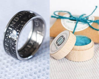 british coin ring - florin - two shillings KG IV- handmade