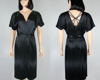 Black Cocktail Party Dress Beaded Wrap Silk Mini Deco Plunging Wedding Maxi S