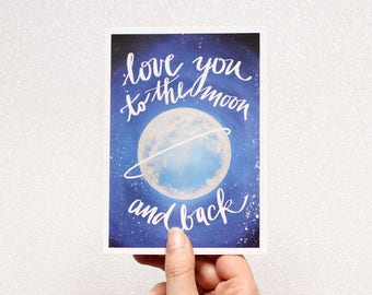 "Postcard with saying ""love you to the moon and back"""