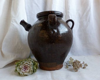 Antique french enormous glazed gargoulette. French antique brown glaze storage pottery jug. French country green glaze farm pottery.