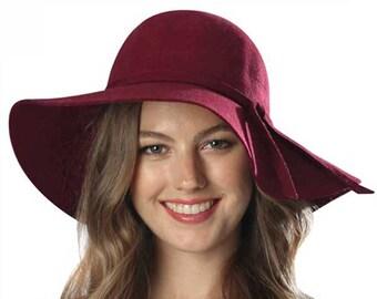 100% Wool Burgundy Floppy Winter Hat