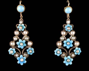 Antique Victorian Turquoise Pearl Forget Me Not Drop Earrings Circa 1900