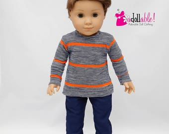 American made Boy Doll Clothes, 18 inch Boy Doll Clothing, Heather Top with Navy Pants, made to fit like American girl doll clothes