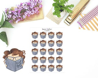 Planner Girl Becca, Read/Study - Character Planner Stickers
