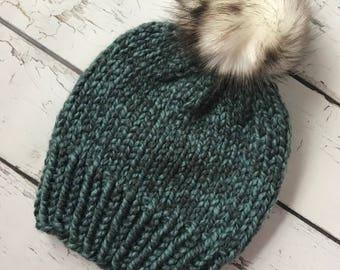 Knit Hat, Bulky Knit Hat, Chunky Knit Hat, Faux Fur Pom Pom Hat, Winter Hat, Knit Hat With Pom Pom, Hand Knit Hat