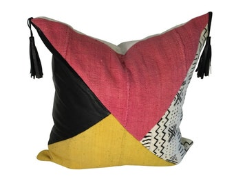 Color Block Throw Pillow, Pillow with Leather, Authentic Mud Cloth Pillow, Mudcloth Pillow, Colorful Pillow Cover