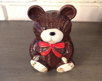 Vintage Otagiri OMC Japan Brown Teddy Bear Bank