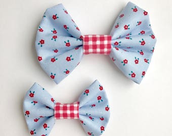 Floral Picnic fabric Kenzie Bow, hair bow on clip or headband, blue floral bow, plaid bow