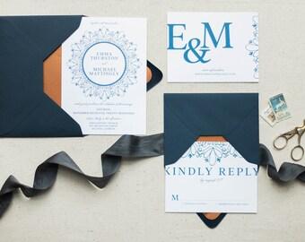 Wedding Invitation Set in Navy Blue, Wedding Invitation Suite, Copper Wedding Invitation, Modern Invitation, RSVP and Details Card