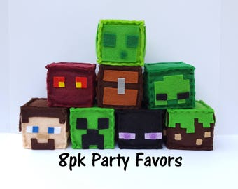 Minecraft Party Favor Bundle, All 8 Blocks, Party Favor, minecraft plush, stuffed plush, minecraft birthday, minecraft party favor, MTO