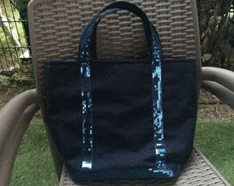 Tote bag medium Navy Blue n lace and Navy blue canvas