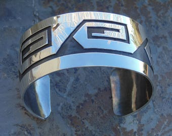 Wilbur Anderson ~ Navajo Sterling Silver Wide Overlay Cuff Bracelet - 43 Grams
