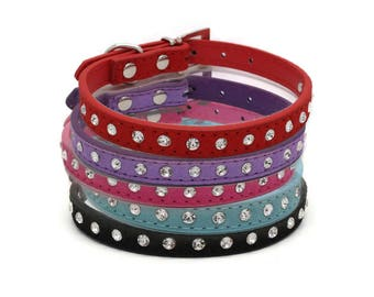 Leather Adjustable Rhinestone Pet Collar for Dogs and Cats, Available in 5 Colors