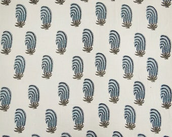 """Hand Block Print, White Fabric, Sewing Crafts, Home Decor Fabric, Quilting Fabric, 45"""" Inch Cotton Fabric By The Yard ZBC8159A"""