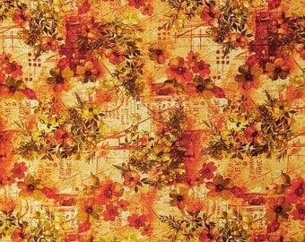 """Beige Fabric, Floral Print Fabric, Dress Material, Quilting Fabric, Home Decoration, 42"""" Inch Cotton Fabric By The Yard ZBP112C"""