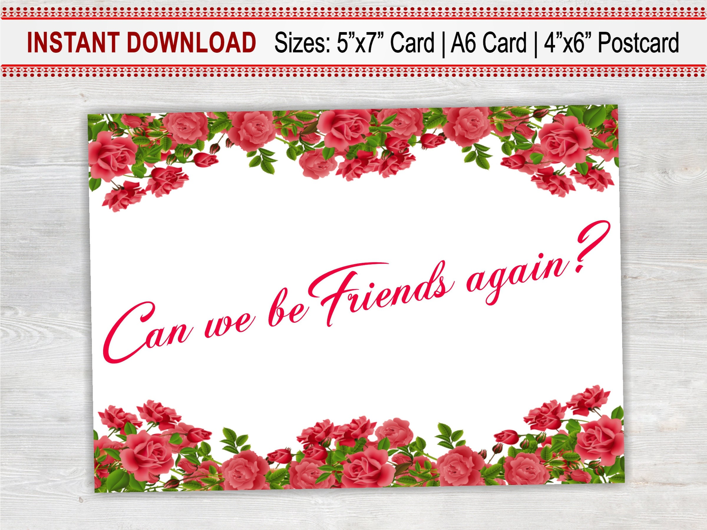 Can we be friends again printable card floral card sorry card for can we be friends again printable card floral card sorry card for friend kristyandbryce Gallery