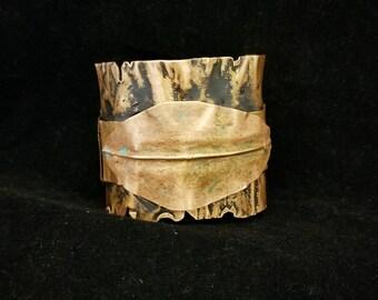 Statement Cuff Bracelet Copper Celestial Cuff Bracelet Ethnic Rustic Cuff Bracelet Bold Wide Artisan Cuff Bracelet One of a Kind Cuff