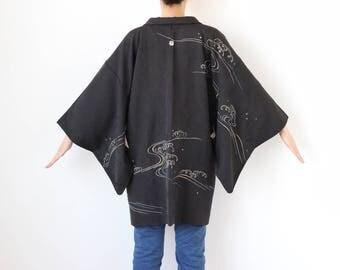 wave embroidered haori, black kimono, silk kimono, black jacket, vintage women jacket, wide sleeve, haori /2934