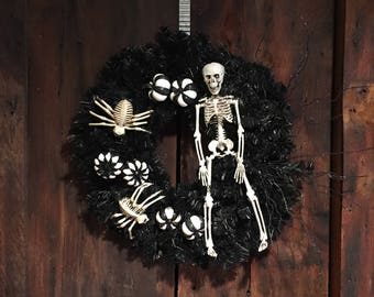 Black and White Halloween Skeleton Spider and Pumpkin Wreath