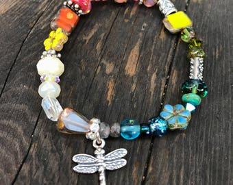 Bracelet, beaded bracelet, gemstone bracelet, glass bracelet, sterling bracelet, dragonfly charm, sterling dragonfly, stretch bracelet