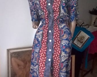 80s 90s Stitches Australian native flowers berries button front day dress size 18