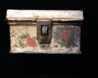 vintage small painted metal box.