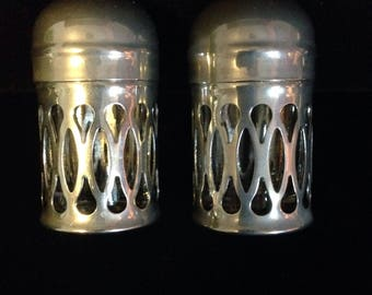 Vintage S.G Silver plate and glass Salt and pepper shakers, made in England.