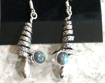 Labradorite Coiled Snake Earrings