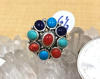 Multi-Turquoise and Red Coral  Ring Size 6 1/2