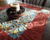 Fall Quilted Table Topper, Leaves Table Topper, Modern Centerpiece, Thanksgiving Table Centerpiece, FREE SHIPPING!
