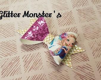 Glitter Mermaid Hair Bow, Mermaid Hair Bow, Glitter Mermaid Bow, Leather Bows, Purple Glitter Bow, Mermaid Headband, Toddler Bows,Girls Bows